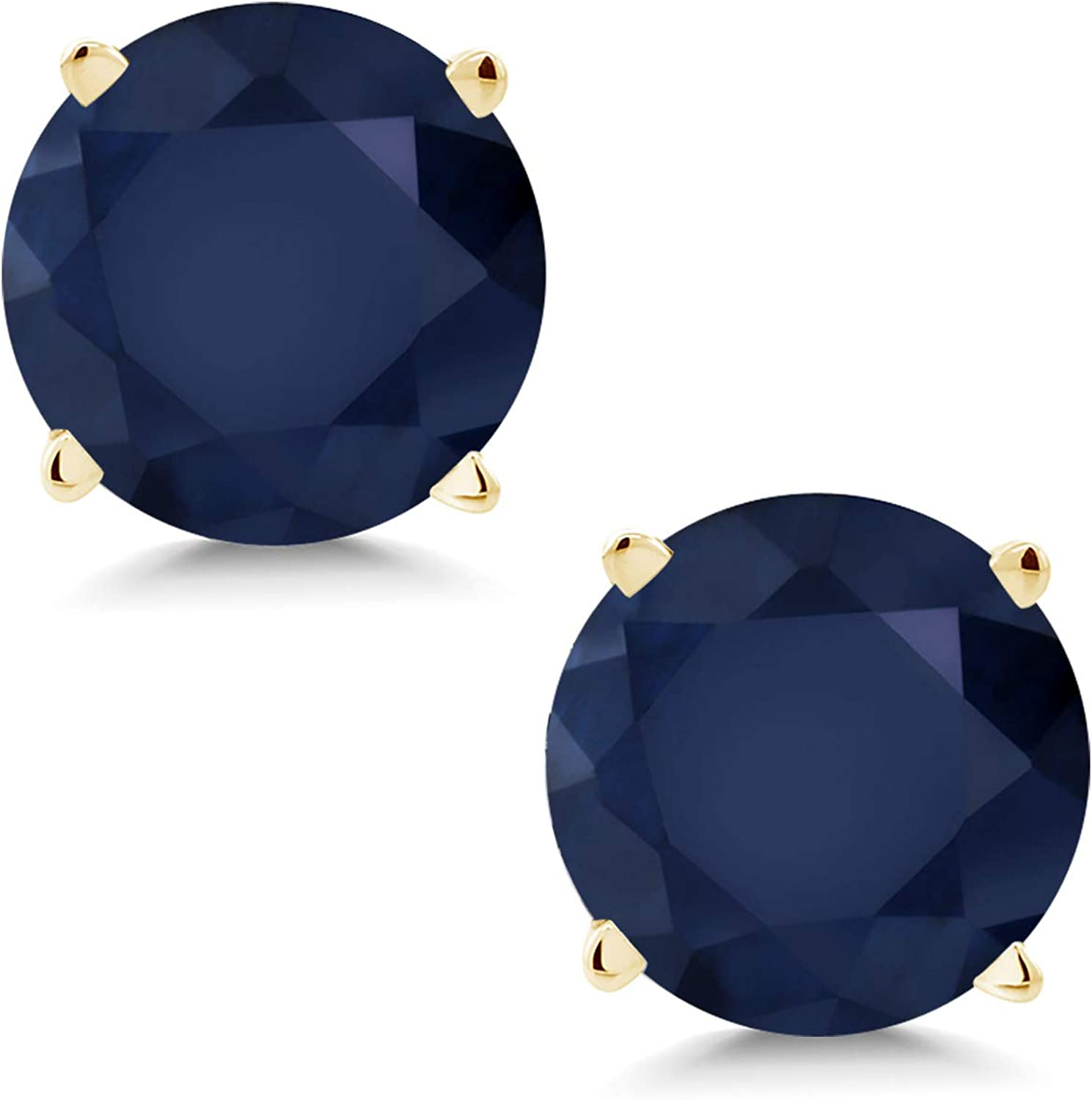 Gem Stone King 14K Yellow Directly managed store Gold Blue Ranking TOP13 Earrin Sapphire Women's Stud
