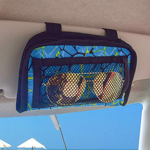 """MDSTOP Car Sun Visor Organizer Bag Sunglasses Holder Case Small Things Accessories Storage Pouch Fits for Cars, Trucks, Suvs (Blue, 7""""×8"""")"""