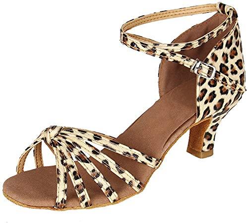 YKXLM Mujeres&Niña Zapatos Latinos de Baile Zapatillas de Baile de salón Salsa Performance Calzado de Danza,Modelo ES217