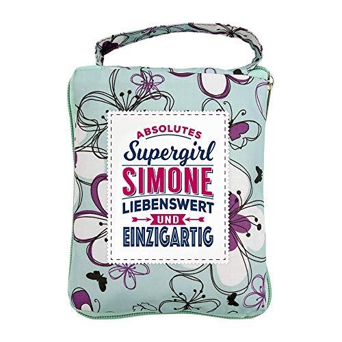 History & Heraldry Design Top Lady Tasche: Simone/Einkaufstasche, Strandtasche, Sporttasche, Blumenmuster/vielseitig, praktisch, personalisiert mit Name und Spruch