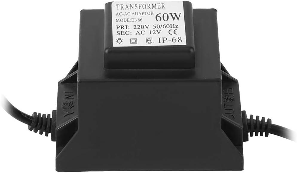 Transformador LED a prueba de agua 60W Transformador especial para luz subacuática Accesorio para piscina práctica Nivel de protección IP68 Diseño de interfaz fija de plástico Enchufe de la UE 220V