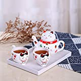 Copa De Vino Taza De Café Tazacute Japanese Lucky Cat Porcelain Tea Set Maneki Neko Ceramic Tea Cup Pot With Strainer Lovely