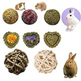 PD Bunny Chew Toys for Teeth, Natural Timothy Grass Small Animal Chew Toys, Mixed Grass and Molar Grass Cake and 2 Balls for Rabbits Chinchilla Hamsters Guinea Pigs Gerbils Groundhog Squirrels (8 pcs)