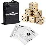"""Giant Yard Dice Game Set - Win SPORTS Wooden Classic&Jumbo Dice 3.5"""",Lawn Game with 2 Double Sided Yardzee Yardkle Scoreboard,2 Dry Erase Marker Pens and Durable Storage Bag"""