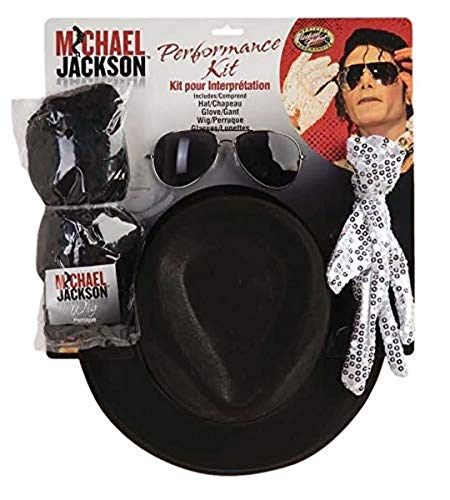 Michael Jackson Costume Accessory Kit with Wig, Hat, Glove and Glasses