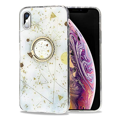 SGVAHY - Funda para iPhone XR, mármol de lujo con lámina de oro ultrafina de silicona suave con brillos brillantes, soporte para anillo de diamante, funda protectora a prueba de golpes