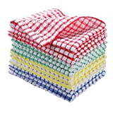 VEIDIA 12PCS Kitchen Dishcloths 11x12 Inches, Cotton Kitchen Dish Towels, Super Soft and Absorbent Dish Rags (Multi...