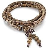 MunkiMix 6mm Bois Bracelet Lien Poignet Collier Tibétain Bouddhiste Brun Boule Perle...