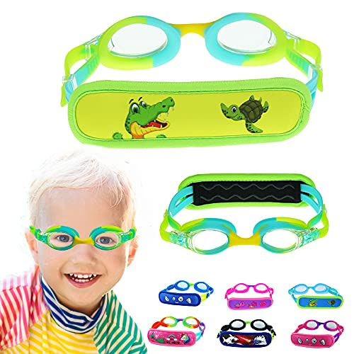 Toddler Goggles for Age 3-5, Kids Goggles with Pain Free Strap Cover - Sotf & No Pull / Yellow Turtle & Crocodile