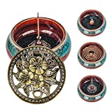 Incense Cone Burner, Lotus Incense Holder for Sticks or Coil Incense, Incense Burner for Charcoal Disc, Resin, Sage Cones and Palo Santo (Blue)