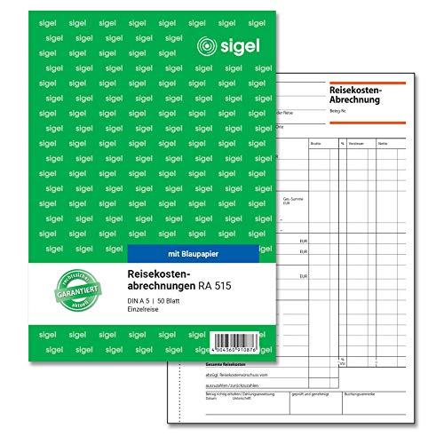 SIGEL RA515 Reisekostenabrechnung für Einzelreisen, A5, 50 Blatt