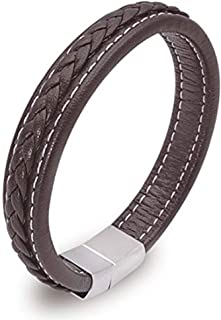 Miricaland Mens Leather Bracelet Stainless Steel Magnetic Clasp Braided Genuine Leather Bracelet for Men, Black and Brown