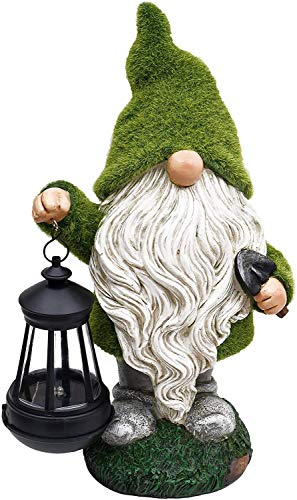 Valery Madelyn Flocked Garden Gnome Statue, Large Outdoor Gnome with Garden Solar Lights, Funny Garden Figurines for Fall Winter Outdoor Home Yard Art Decor (13 Inch Tall)