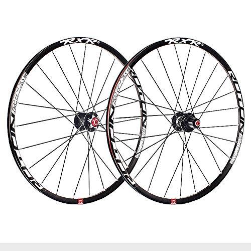 ZCXBHD 29 Pulgadas Bicicleta Montaña Juego De Ruedas Fibra Carbon Cubo Freno De Disco MTB Rueda Pared Doble 5 Palin 7 8 9 10 11 Velocidad Casete (Color : Black hub, Size : Thru axle)
