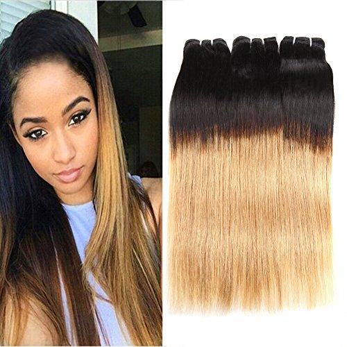 Huarisi Cheveux blond raide cheveux ombré Brésilien humain 1b/27 tissages 100% cheveux non-transformé virginal extensions 3 paquets deux teintes 16 18 20 pouces
