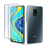 QHOHQ Case for Xiaomi Redmi Note 9S with 2 Pack Screen Protector, Transparent Soft Silicone TPU Cover - Tempered Glass Film - [9H Hardness] [Scratch Resistant]