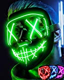 Colplay LED Light Up Halloween Mask,Scary Glow LED Face Mask with 3 lighting Modes & El Wire for Costume&Cosplay Party.Adjustable&Eco-Friendly Material for Men Women Kid-GREEN