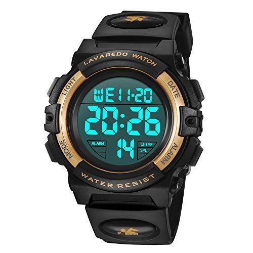 Reloj Niño,Reloj Digital para Niños, Deportivos LED 5ATM Impermeable Alarma Calendario Multifunción Cronógrafo Reloj De Pulsera para Niños Azul Negro
