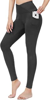 LUXUR High Waisted Workout Leggings for Women Butt Lifting Yoga Pants with Pockets, Tummy Control Compression Leggings