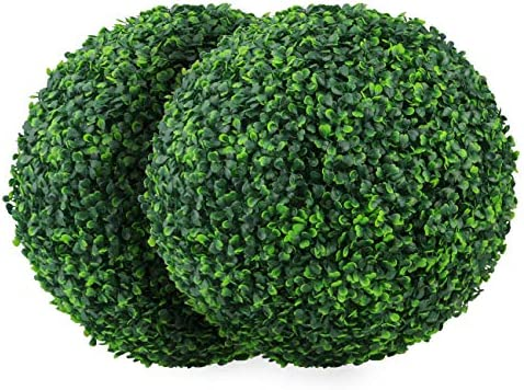 Sunnyglade 2 PCS 15 7 inch 4 Layers Artificial Plant Topiary Ball Faux Boxwood Decorative Balls product image