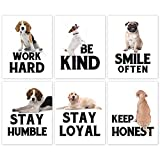 """Puppy Positive Quote Art Print,Be Kind Lovely Dog Canvas Wall Art Set Of 6(8""""X10"""",Unframed),Funny & Cute Animal Inspirational Painting Poster For Pet Lovers Kid Bedroom Playroom Decor"""