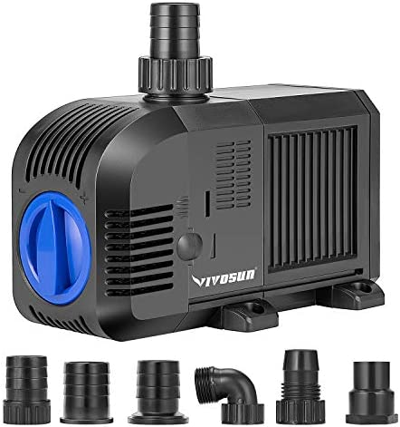 VIVOSUN 1320GPH Submersible Pump(5000L/H, 80W), Ultra Quiet Water Pump with 12.5ft High Lift, Fountain Pump with 16.4ft Power Cord for Fish Tank, Aquarium, Statuary, Hydroponics