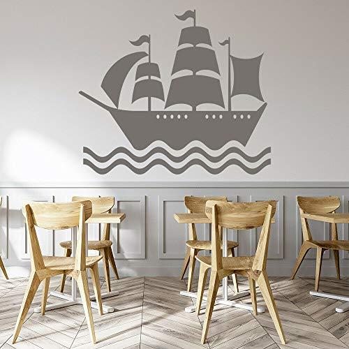 Geiqianjiumai Ozean Schiff Piratenschiff Wandaufkleber Jugend Schlafzimmer Baby Kinderzimmer Schlafzimmer Wohnaccessoires Wohnzimmer grau 74x84cm