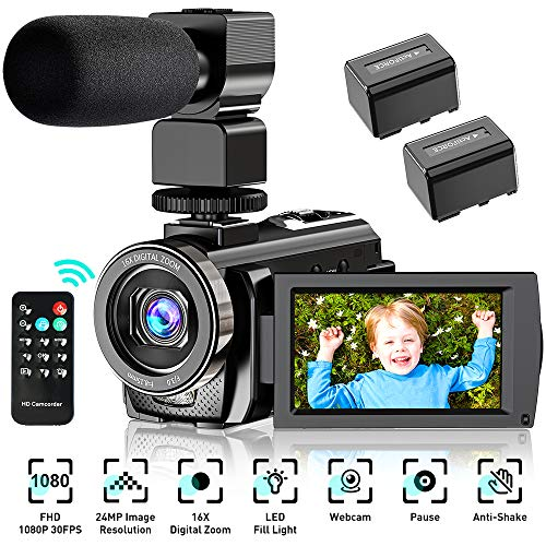 Video Camera Camcorder YouTube Vlogging Camera HD 1080P 30FPS 24MP 16X Digital Zoom 3quot LCD 270 Degrees Rotatable Screen Digital Camera Recorder with MicrophoneRemote Control2 Batteries