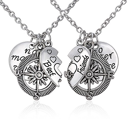 2 Pcs Couples Best Friends Mother Daughter Love Heart Puzzle Dog Tag Necklace Key Chain Heart Matching Engraved no matter where Letter Compass Jewelry (Best Friends Necklace(2pcs))