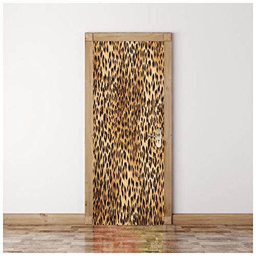 3d deur sticker behang dieren Luipaard print deco deur poster deur foto glas binnendeuren slaapkamer