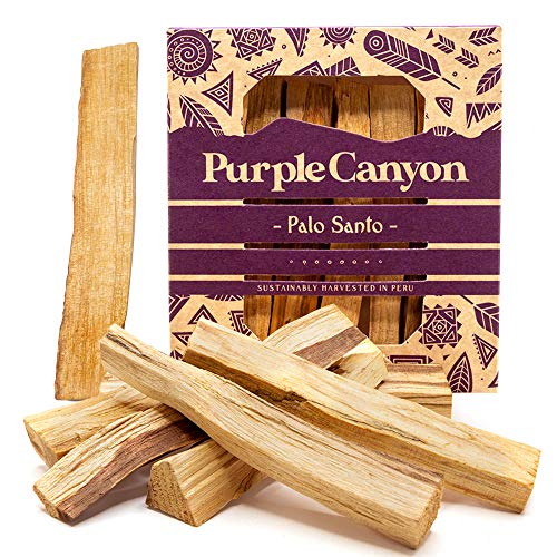PURPLE CANYON Palo Santo - 8 Pack - Organic Natural Incense Sticks for Smudging Meditation Cleansing and Stress Relief - Sustainably Harvested