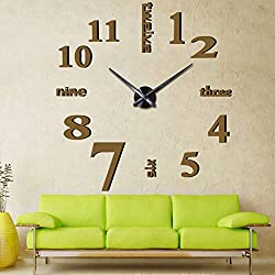 Mirror Surface Decorative Clock 3D DIY Wall Clock for Living Room Bedroom Office Hotel Wall Decoration (Coffee)