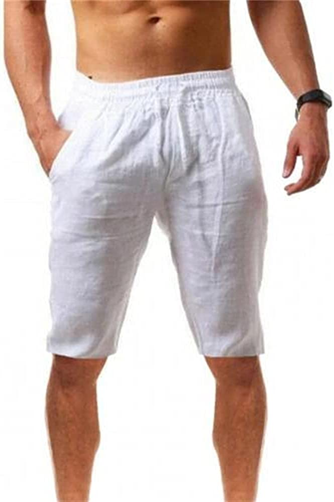 Summer New Men's Casual Trend Slim Quick-Drying Shorts Cotton Linen Mid Rise