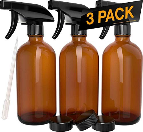 3 Pack - Refillable Empty Amber Glass Spray Bottles 16 OZ. [Free Microfiber Cloth] for Cleaning Solutions, Hair, Essential Oils, Plants - Trigger Sprayer with Mist and Single Mode