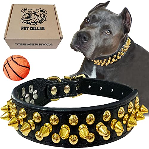 TEEMERRYCA Black Leather Dog Collar with Gold Spikes for Boy Small Medium Large Pets,Pit Bulls/Bulldog, Keep Dog Safe from Grabbing by Huge Dogs,L(15.7'-18.5' / 40cm-47cm)