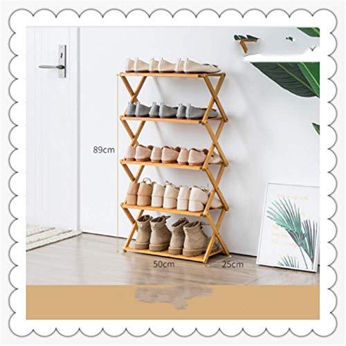 JSMY Estante económico Simple para el hogar sin instalación,Estante para Zapatos Plegable de múltiples Capas,Estante para Almacenamiento en la Puerta del Dormitorio,gabinete de Zapatos de bambú 5