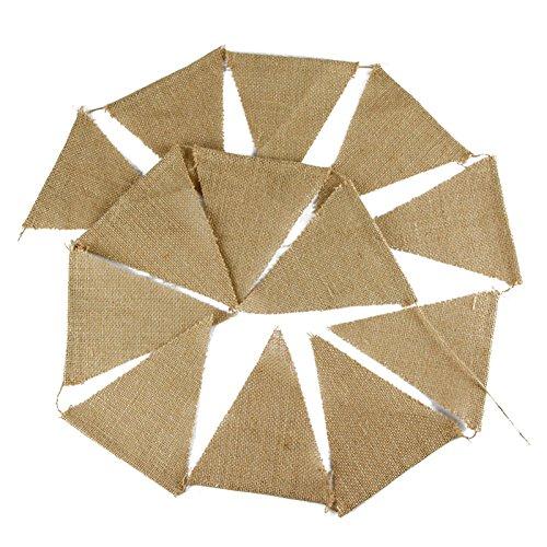 jijAcraft Banner de Arpillera,Preciosa Guirnalda de banderines Triangulares de 3,7 m, de Tela de Doble Cara, con Estilo Vintage y Chic, decoración para Bodas rústicas