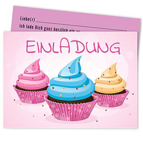 Postkartenschmiede Cupcake Einladungskarten Kindergeburtstag Mädchen Junge (10er-Set) - Einladung Geburtstag Kinder - Geburtstagseinladungen