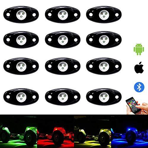 RGB Led Rock Lights Kit 12 Pods Led Rock Light Bluetooth Control 15 DIY Color Timing Music Flashing Interior Neon Wheel Lights for Offroad Jeep Trucks UTV SUV ATV Motorcycle (12pods)