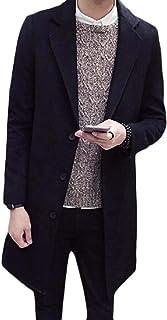 Men Fall Winter Lapel Single Breasted Woolen Overcoat Trench Coat