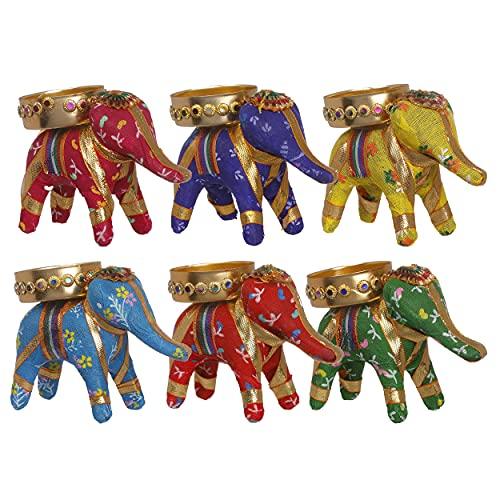 JH Gallery Handcrafted Elephant Tealight Candle Holder/Diwali Diya for Home Decor/Diwali Gift/Diwali Decoration/Corporate Gift for Diwali (Pack of 6)
