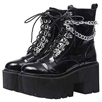 CYNLLIO Fashion Block Heel Platform Chain Combat Ankle Booties Women s Lace up Studded Motorcycle Boots Mid Calf Goth Boots