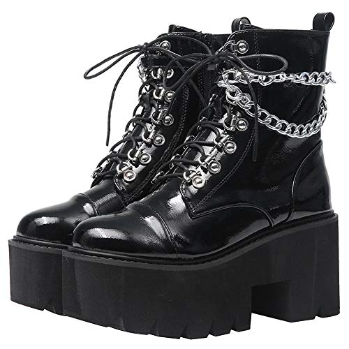 CYNLLIO Fashion Block Heel Platform Chain Combat Ankle Booties Women's Lace up Studded Motorcycle Boots Mid Calf Goth Boots
