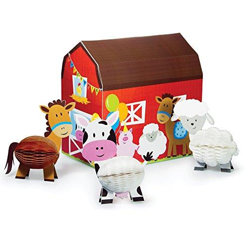 Creative Convertting- Centrotavola Casetta 24 X 24 X 15 Cm con Animaletti 12 Cm, Fattoria Farmhouse Fun, Multicolore, Taglia USA, 8C265506