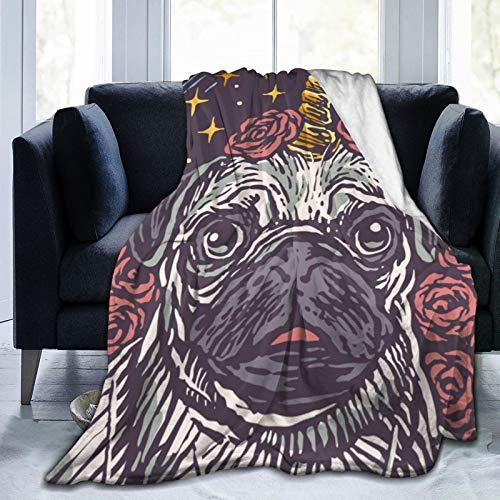 DOWNN Manta de forro polar de franela con diseño de perro carlino y unicornio impreso en 3D, para dormitorio de 201 x 152 cm