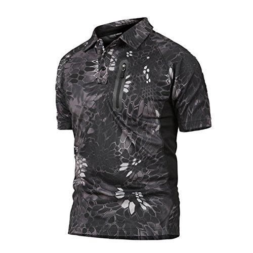 QCHENG Polo Militaire Camouflage Uniforme Tactique Séchage Rapide Manche Courte Hommes T-Shirt de Airsoft Combat Chasse Fermeture éclair Chemise Python Noir Large