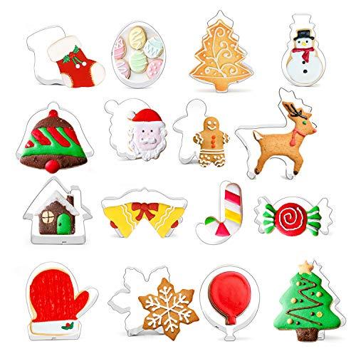 Infreecs 16 Stück Ausstechformen Ausstecher Set, Backen Kuchen Cutter Weihnachtsausstechformen Set aus Edelstahl perfekt für Keks,Backen Fondant Plätzchen,Tortendekorationen