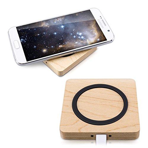 kwmobile Qi Ladegerät für Smartphones - Induktionsladegerät aus Holz - kabellos Laden durch Induktion - Wireless Charger Ladestation Ladepad