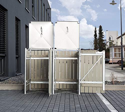 Hide Mülltonnenbox, Mülltonnenverkleidung, Gerätebox Natur grau // 139x81x115 cm (BxTxH) // Aufbewahrungsbox für 2 Mülltonnen 240l Volumen