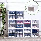 Juego de 20 cajas para zapatos, caja de plástico con puerta transparente,...